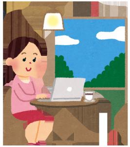 在宅でパソコンの仕事をする女性